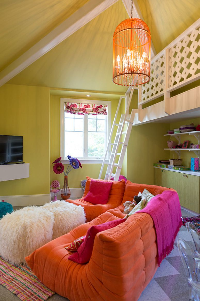 Loft playroom and Tv area with colorful modular seating