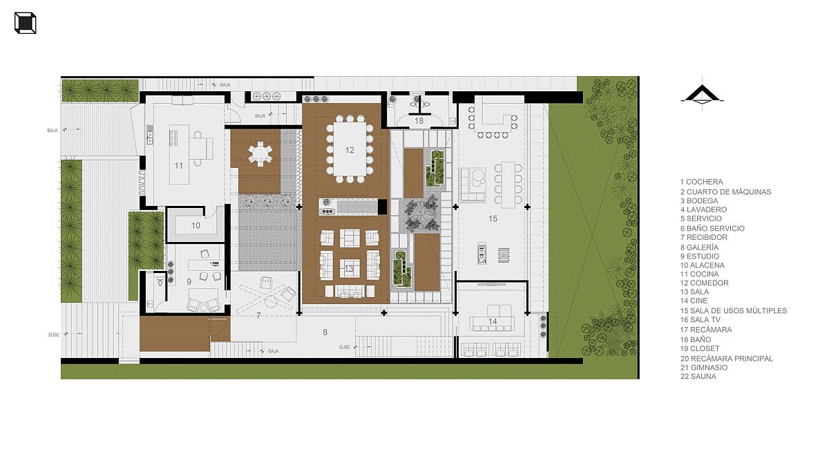 Lower level floor plan of smart Mexican home