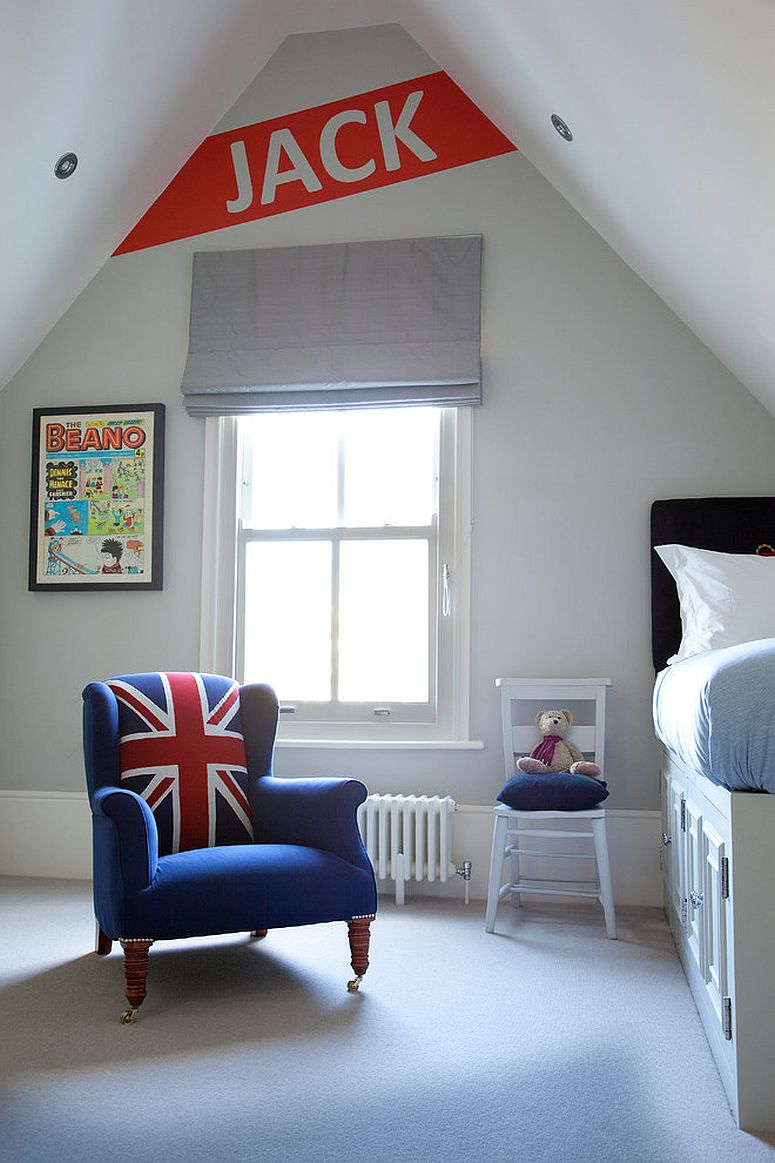 Modern-Victorian-style-kids-room-in-white-with-pops-of-red-and-blue