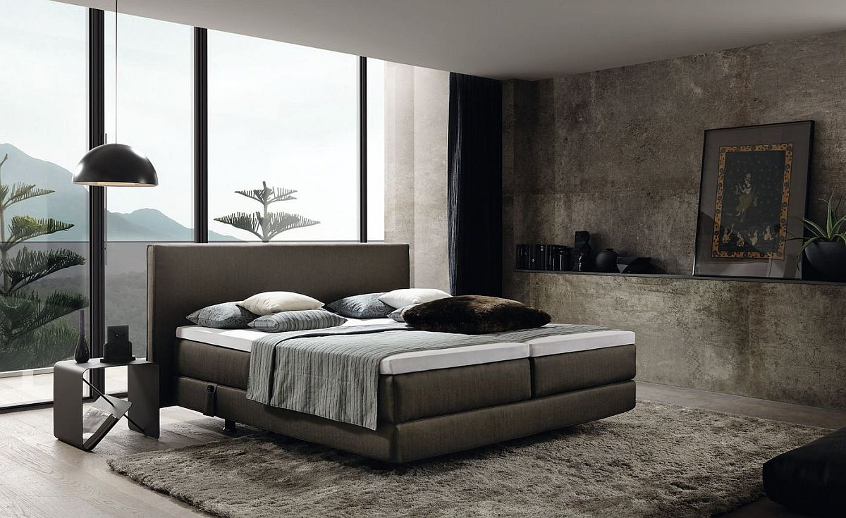 Modern bedroom with textured walls and the lovely Boxspring bed