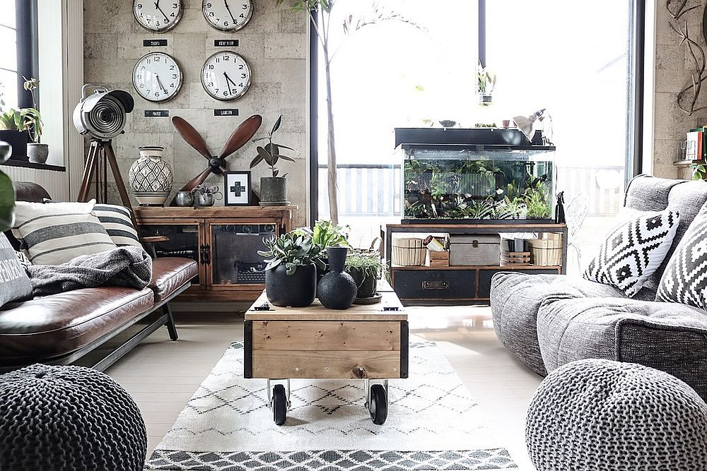 20 monochromatic living rooms in white full of personality for Industrial living room ideas