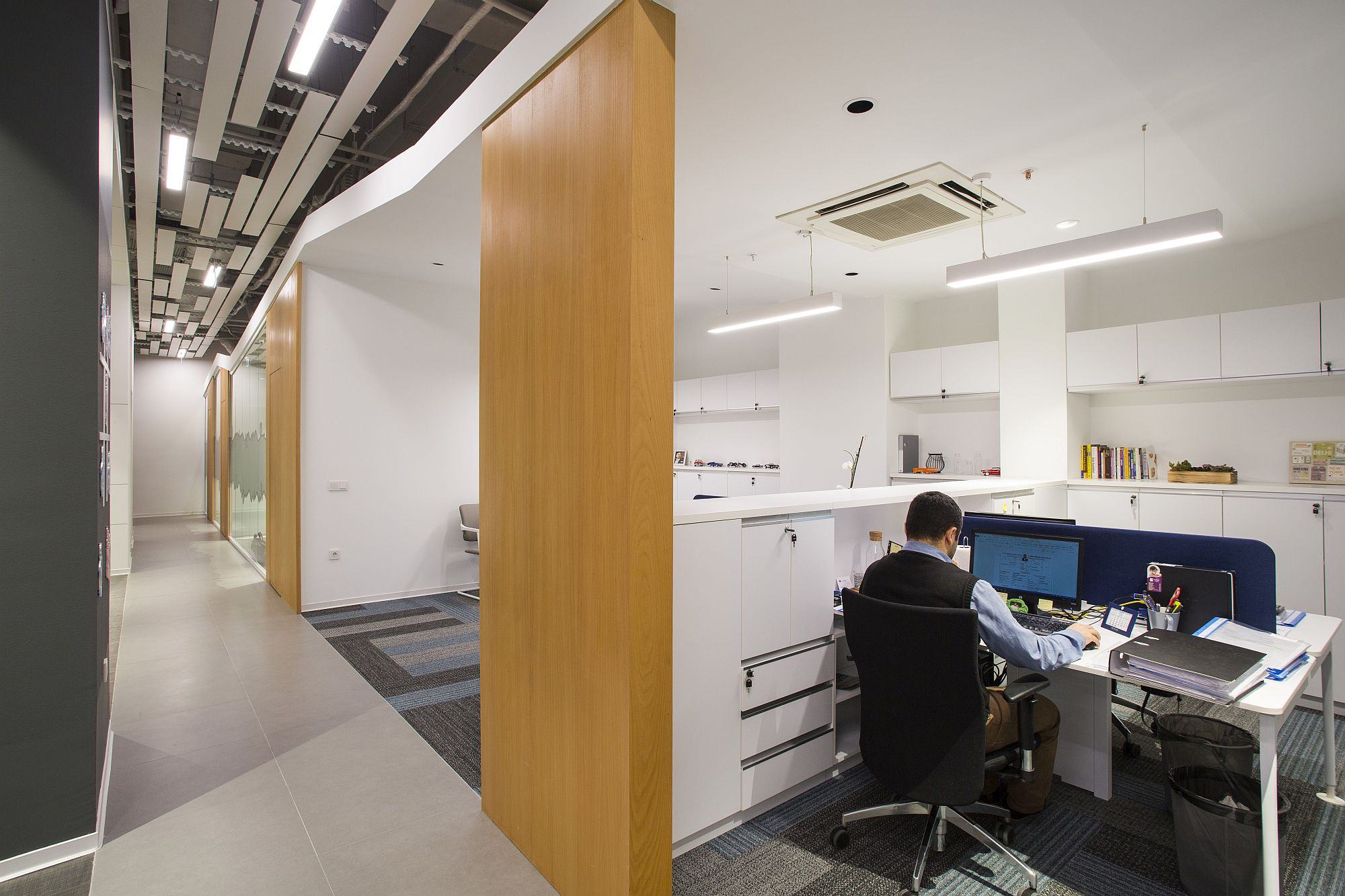Modern office in white, wood and gray