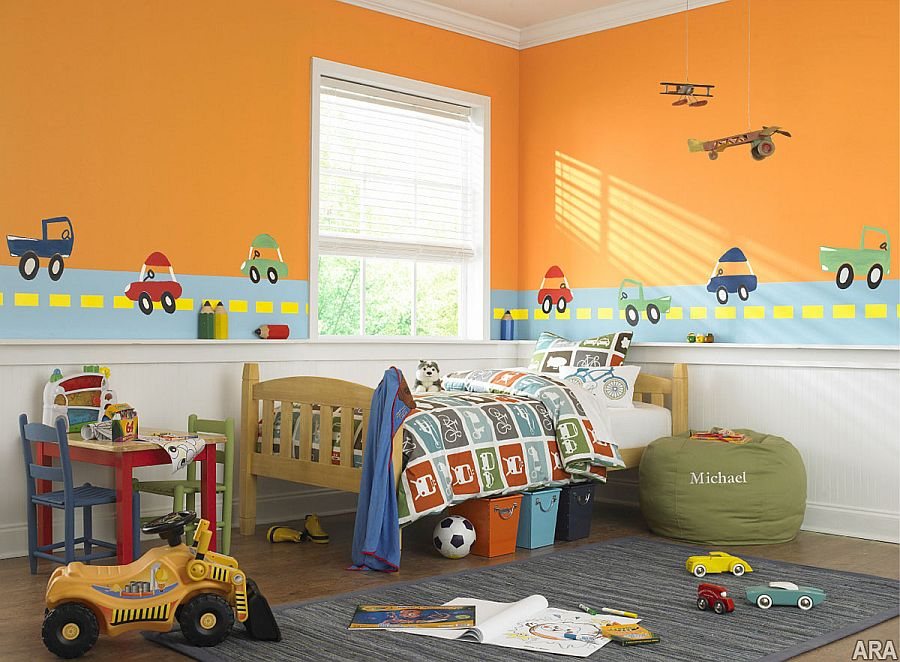Orange walls allow you to transition from nursery to kids room with ease