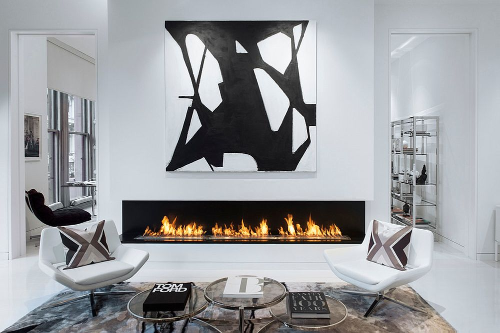 Polished-living-room-of-Bleecker-Street-Loft-with-a-dazzling-fireplace