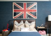 Polished-teen-room-in-blue-with-grasscloth-wall-covering-and-framed-Union-Jack-217x155