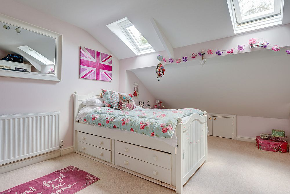 Pretty pink accents enliven shabby chic girls' room in white