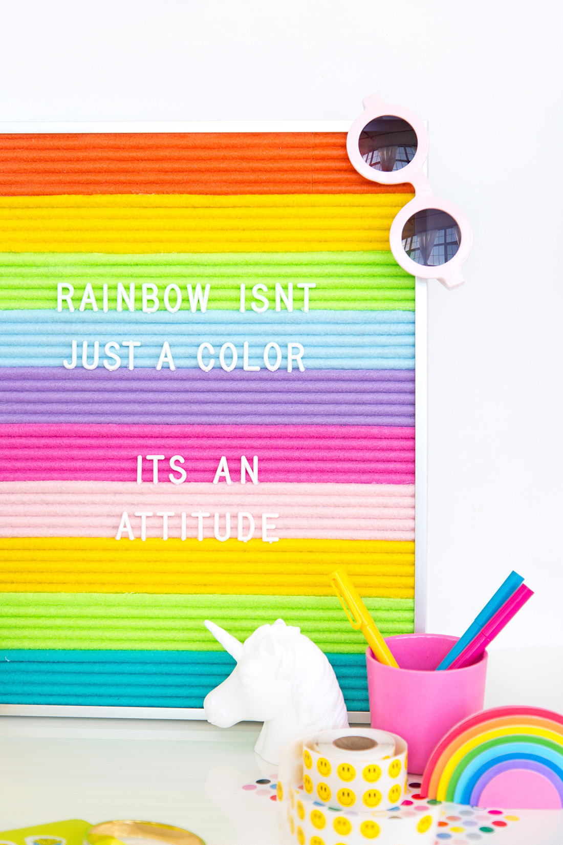 Rainbow-felt-message-board