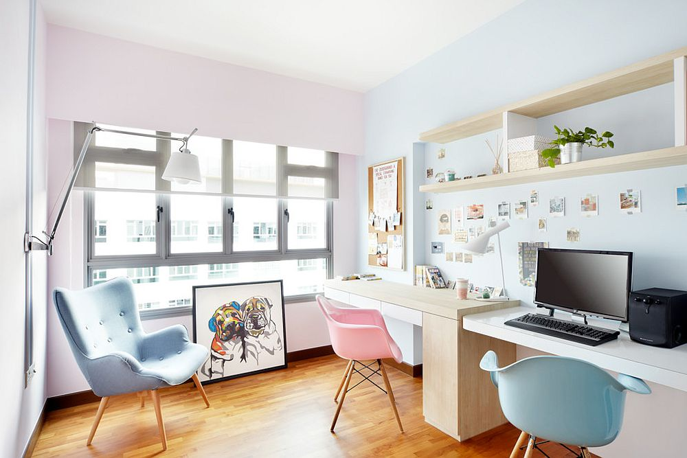 Scandinavian home office enlivened with pastel pink and blue