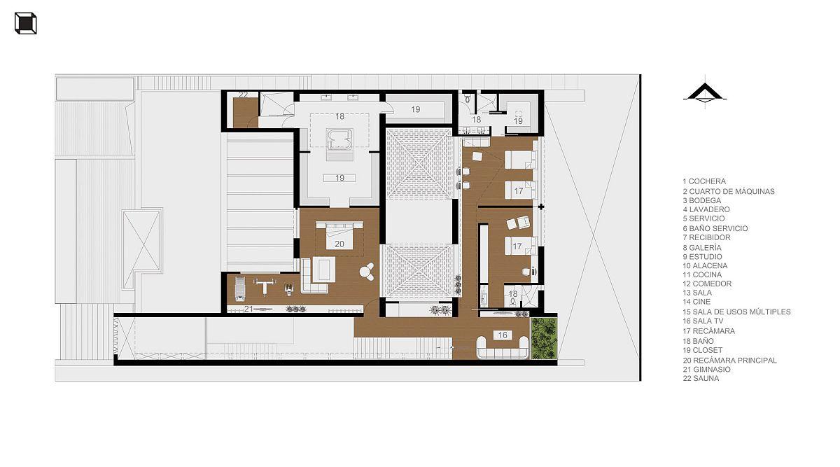 Second level floor plan with bedrooms
