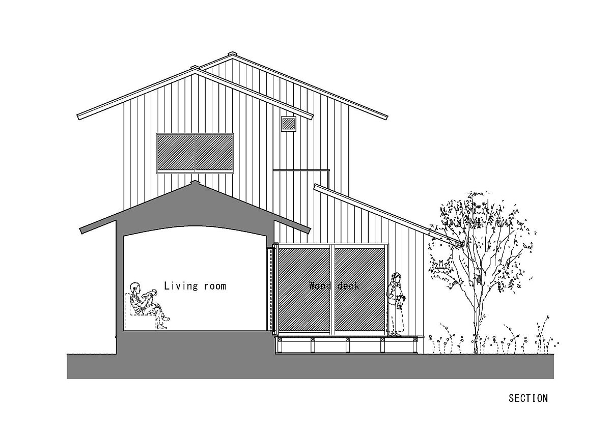 Sectional view of modern house in Japan