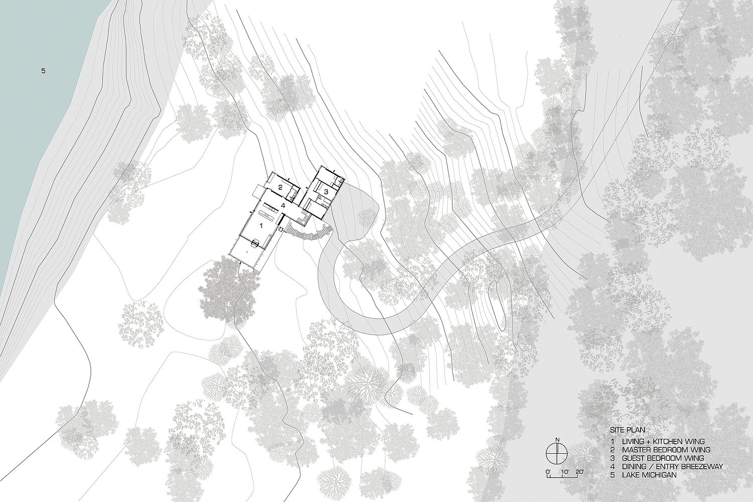 Site plan showcases the placement of the living area, bedrooms and dining space