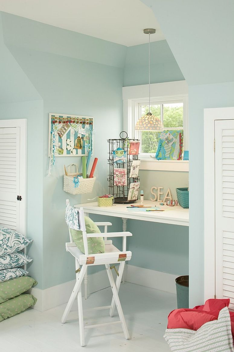 Small beach style home workspace in pastel blue