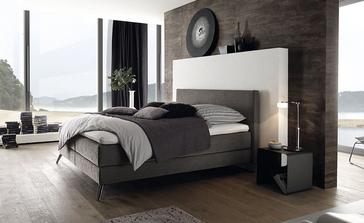 Space-savvy and elegant contemporary bed also offers ample comfort