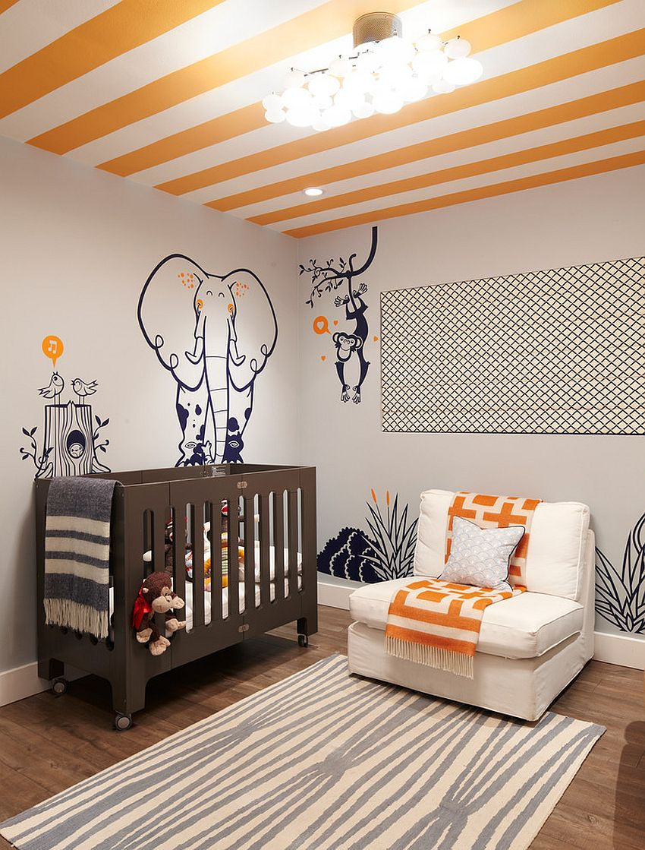 Striped ceiling brings orange to this playful modern nursery