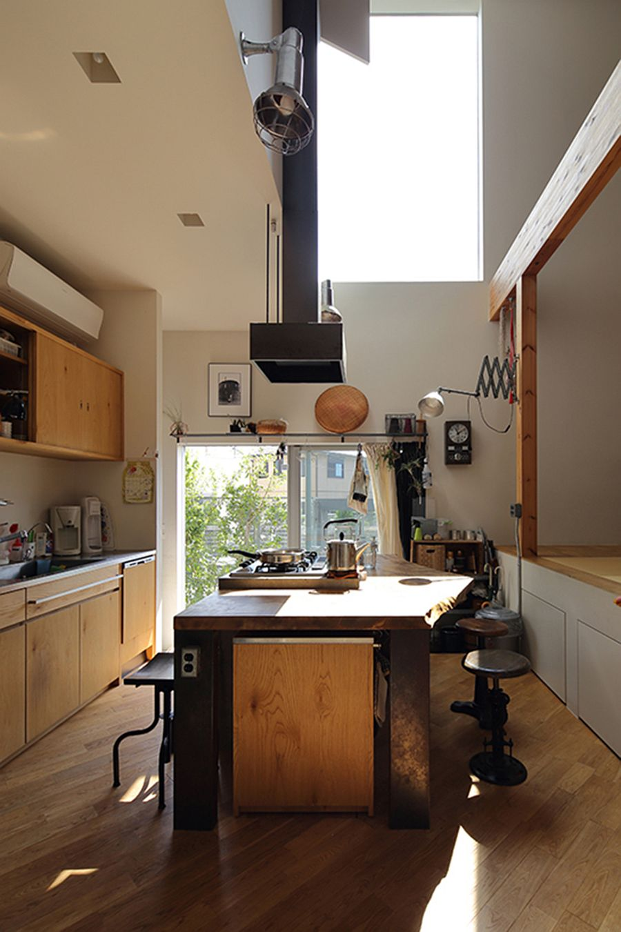 Sunlight illuminates the kitchen