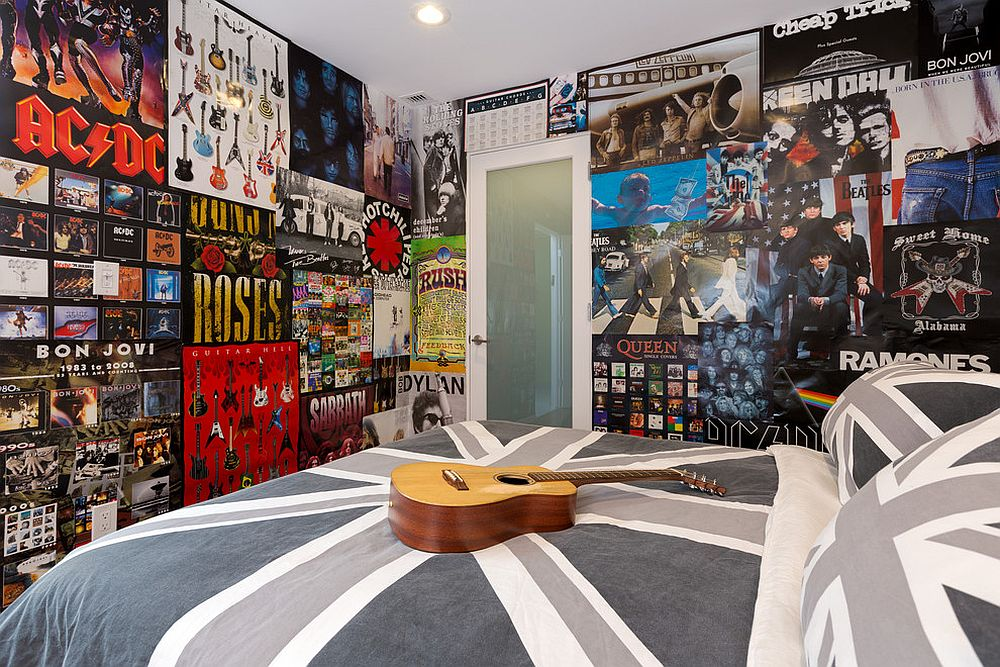 Teen room filled with posters and a Union Jack bedding