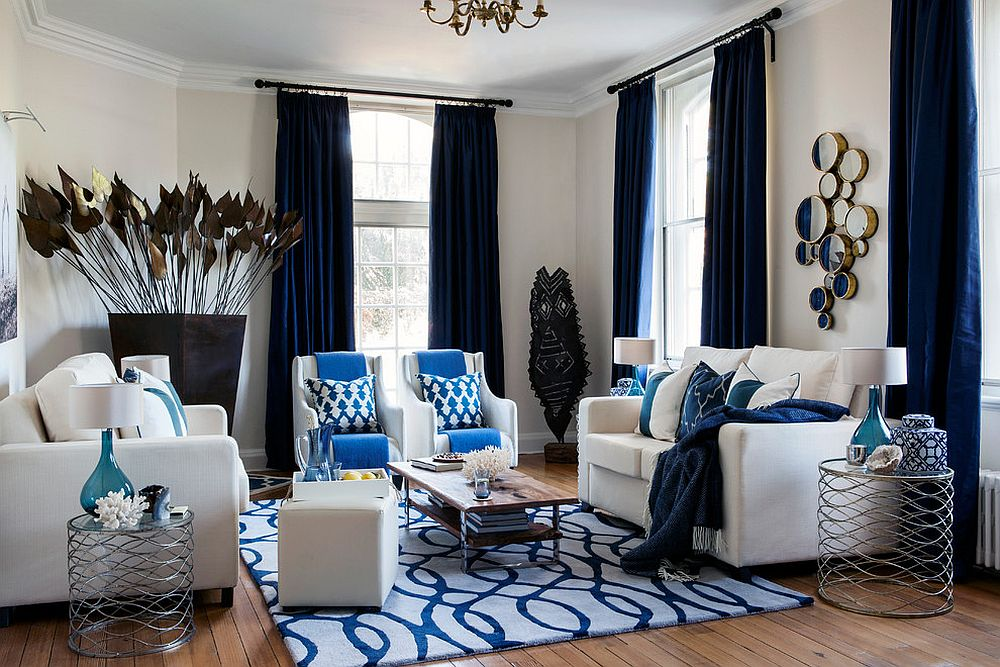 Simply Dashing: Dark Blue Drapes!