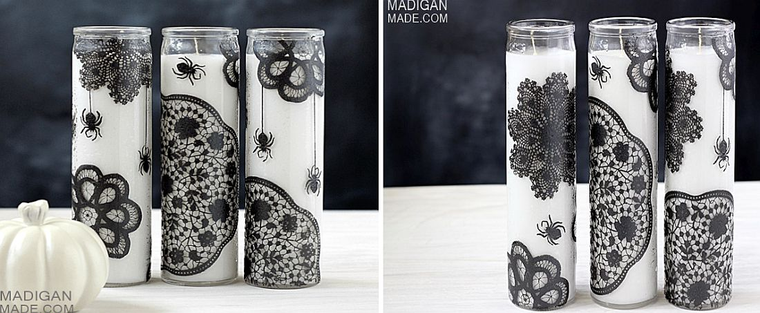 A touch of wicked – DIY Halloween painted candles in black and white