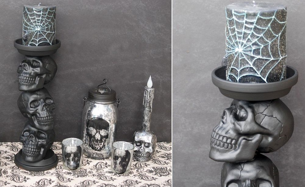 Awesome DIY Skull candle Holder should give your guests the Spooks!
