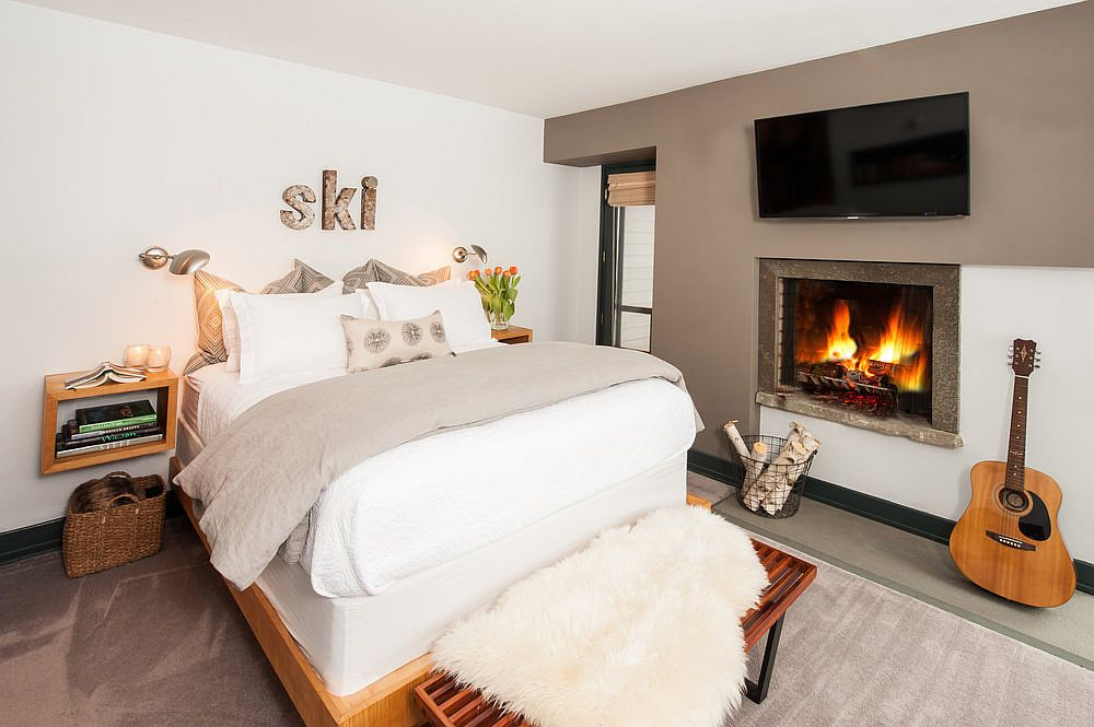 Bedroom fireplace is a great way to add warnth and romantic charm to the space