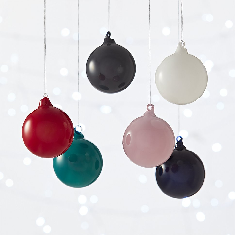 CB2's opaque glass ornaments