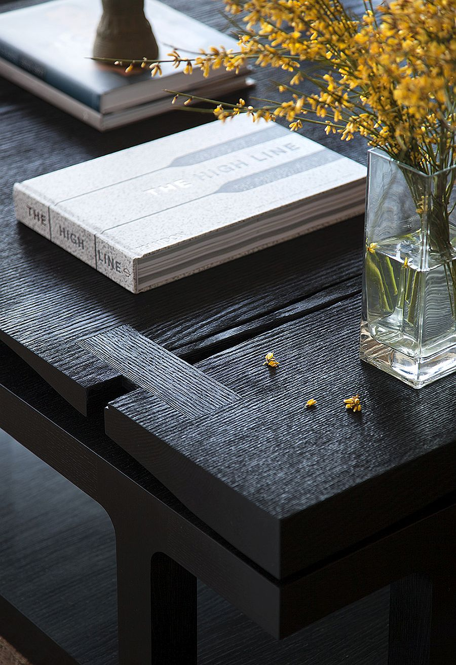 Closer look at the custom coffee table crafted for the W Residence in Austin