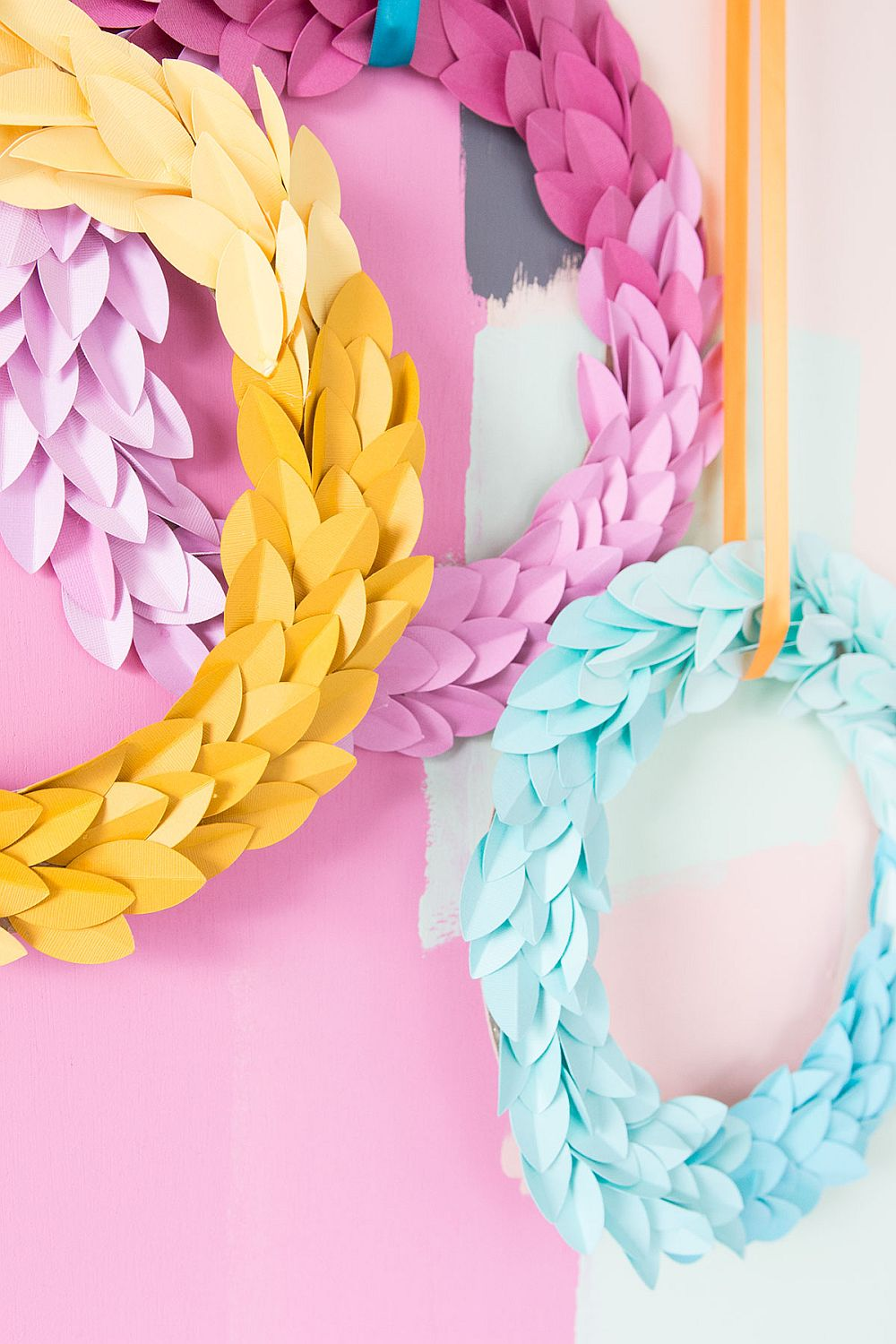 Closer look at the paper leaf ombre wreaths