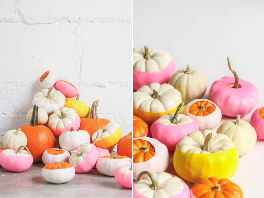 Colorful Balloon-dipped pumpkins DIY