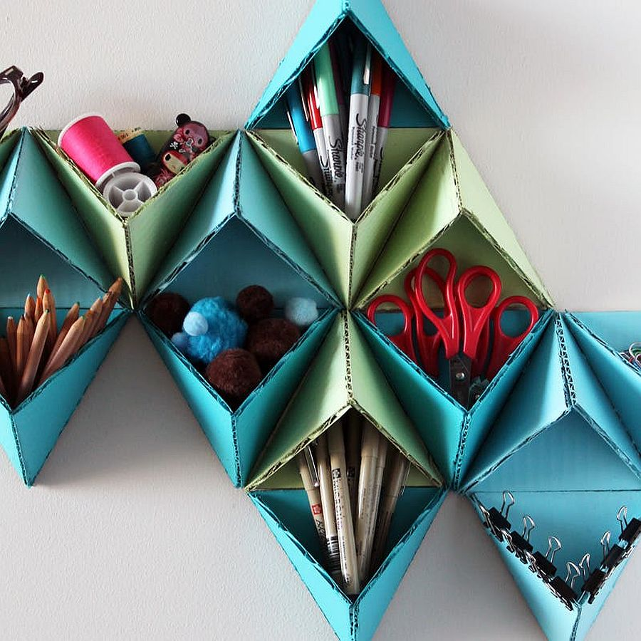 Colorful DIY Triangular Wall Storage System