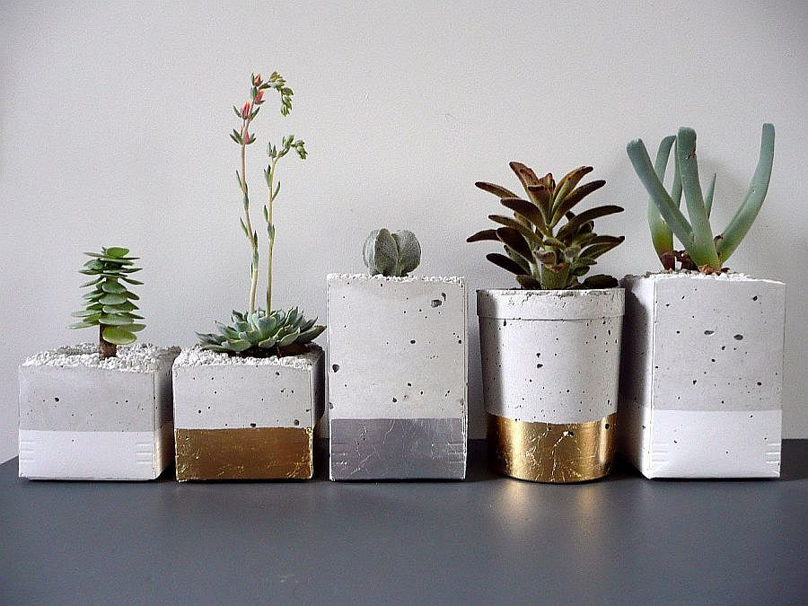View In Gallery Concrete And Gold Modern Diy Planters