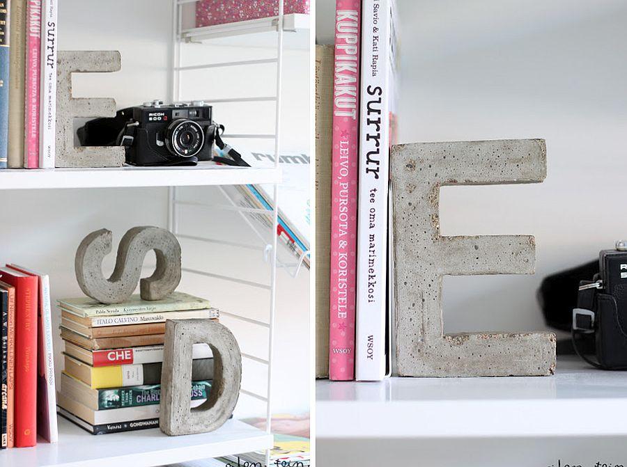 Concrete letter bookends DIY
