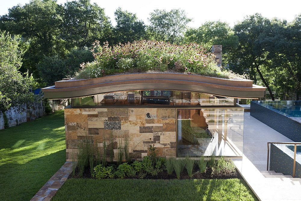 Pool House With A Curved Living Roof Makes A Bold Green