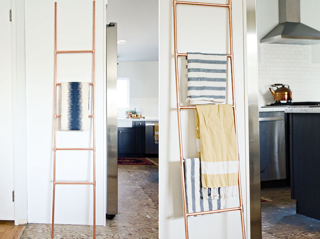 DIY Copper Pipe Ladder used as towel holder