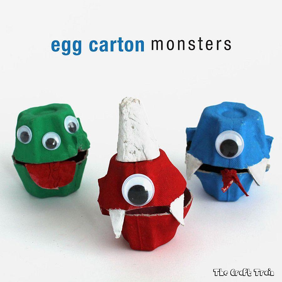 DIY Egg Carton Monsters for a fun Halloween vibe