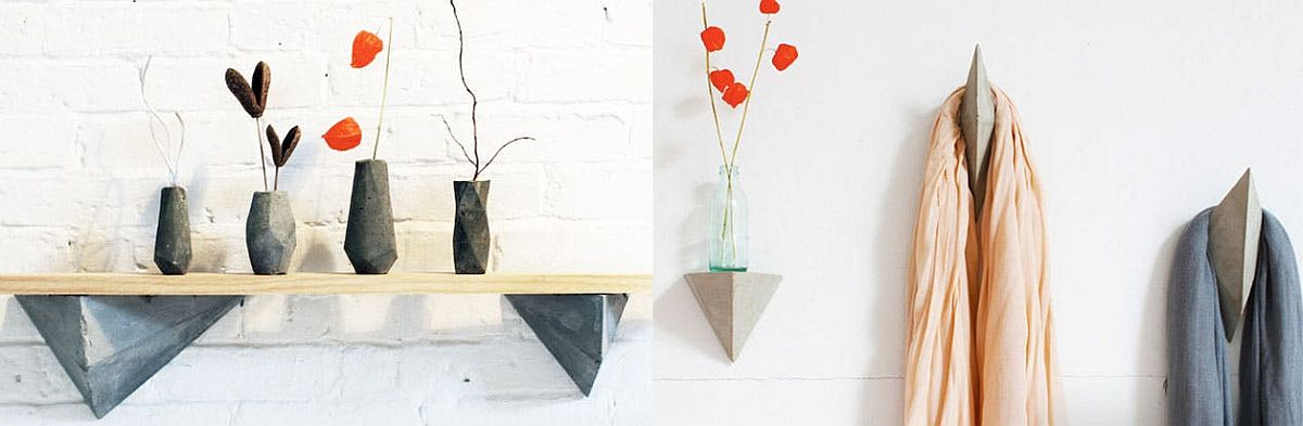 DIY Faceted Concrete Hooks and Shelves