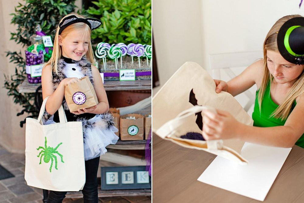 DIY Glittered Trick-or-Treat Bags