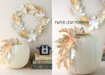 DIY-Paper-leaf-wreath-and-pumpkin-are-simply-stunning-217x155