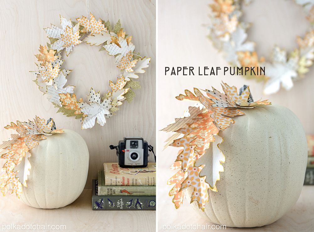 DIY Paper leaf wreath and pumpkin are simply stunning
