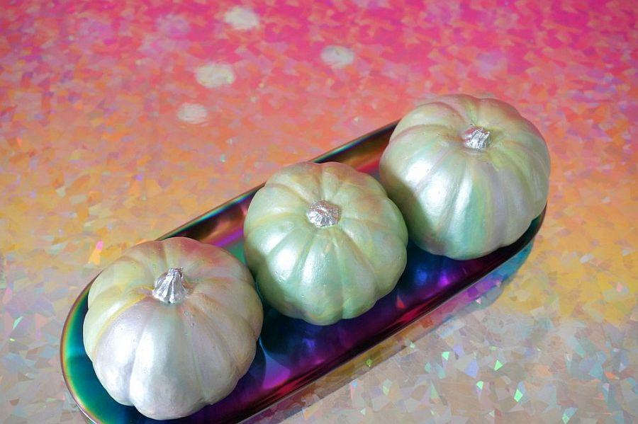 DIY iridescent pumpkins