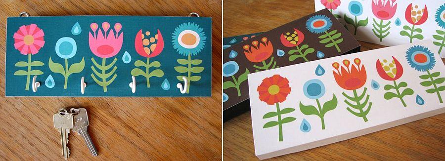 DIY key holder with folksy flower design