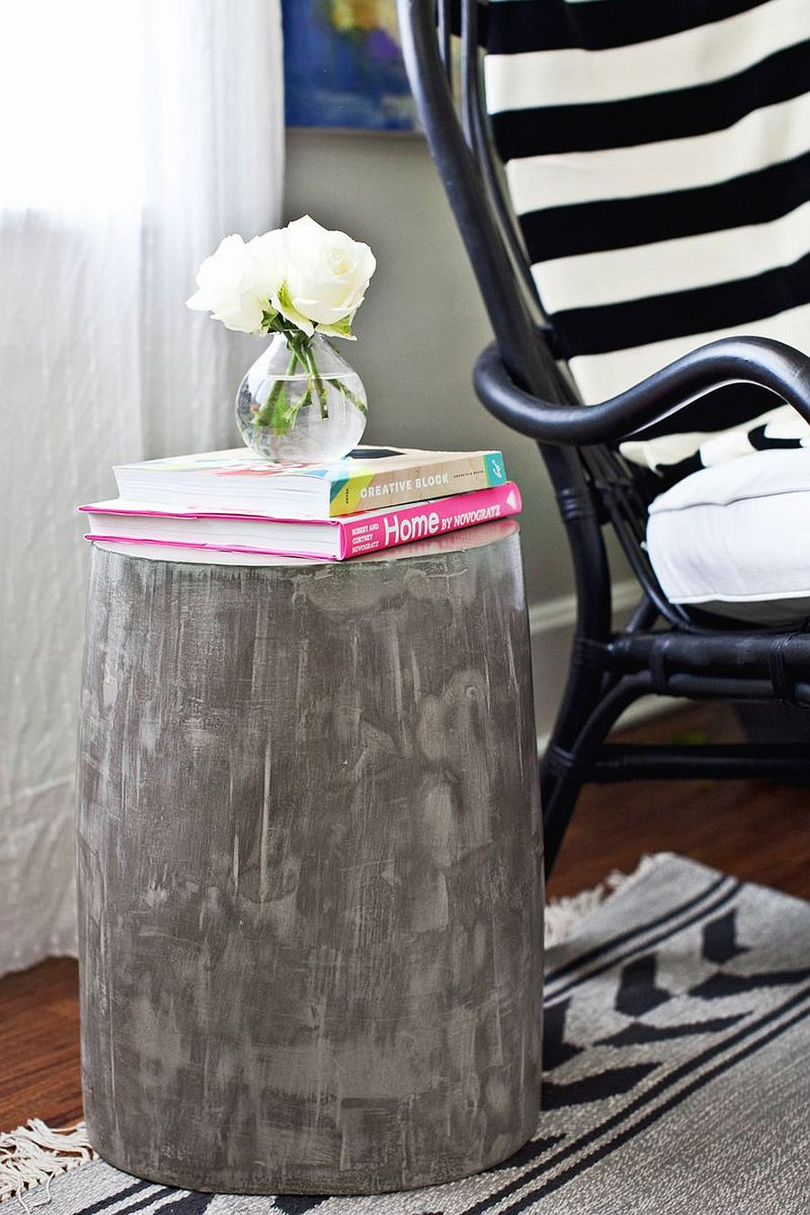 DIY lightweight concrete side table