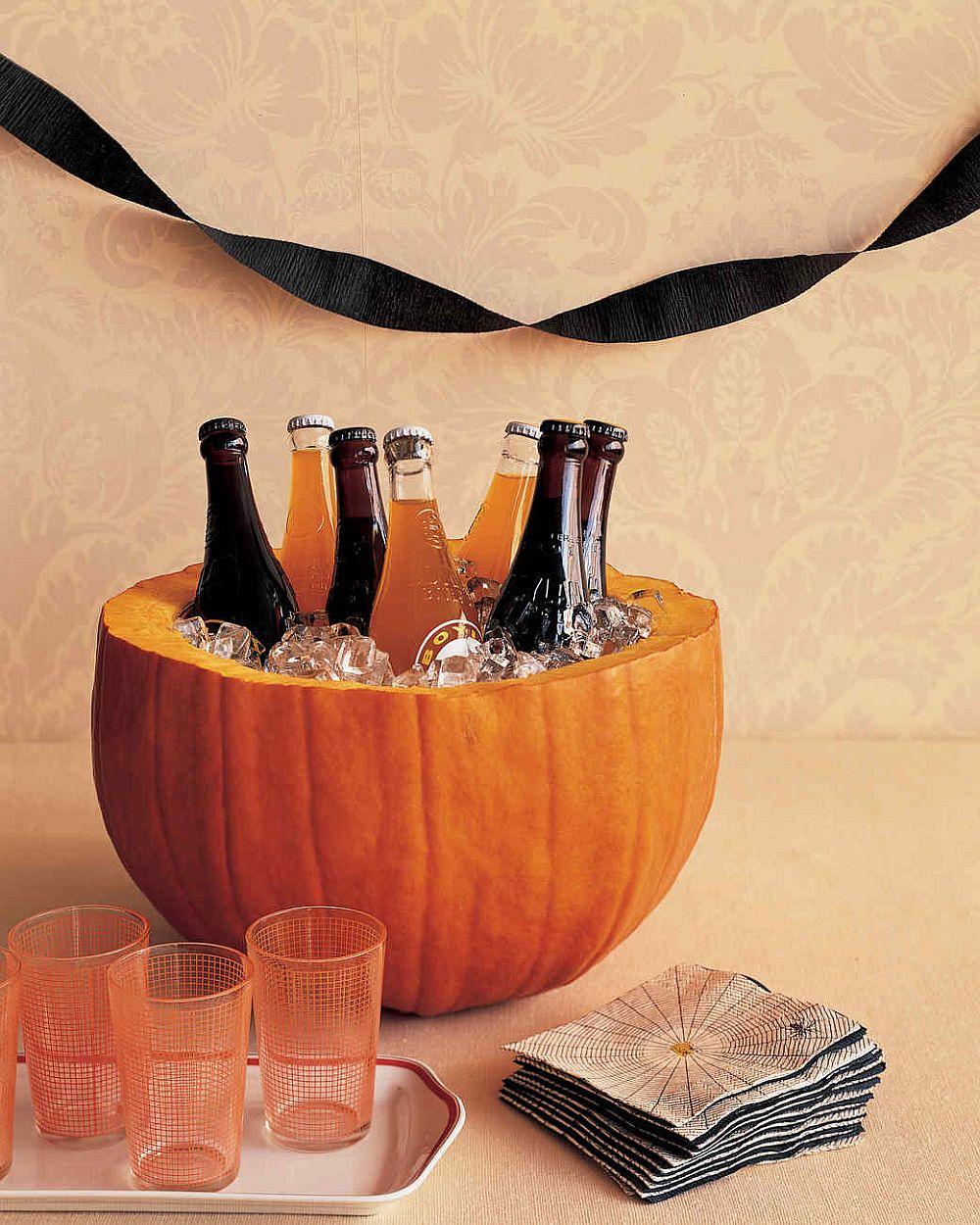 DIY pumpkin party cooler