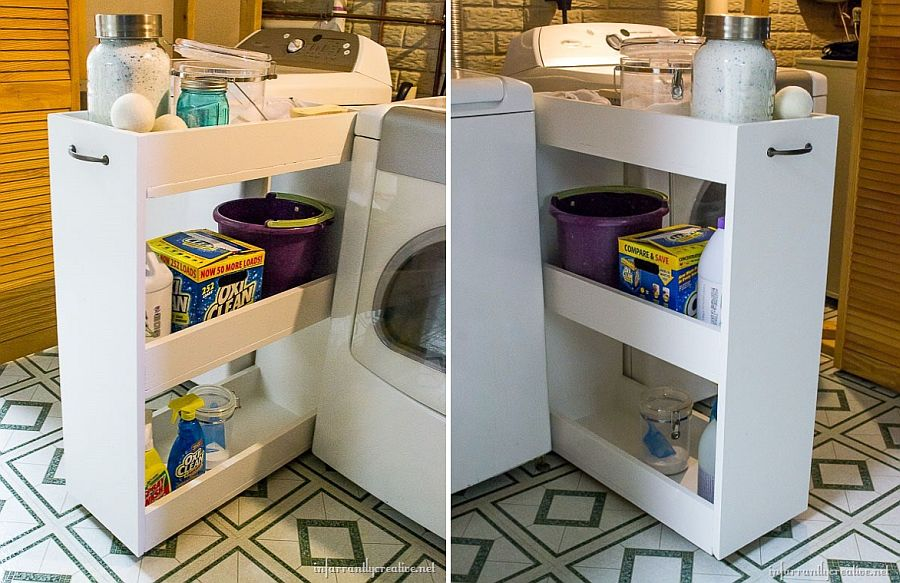DIY slim laundry cart design with building plans