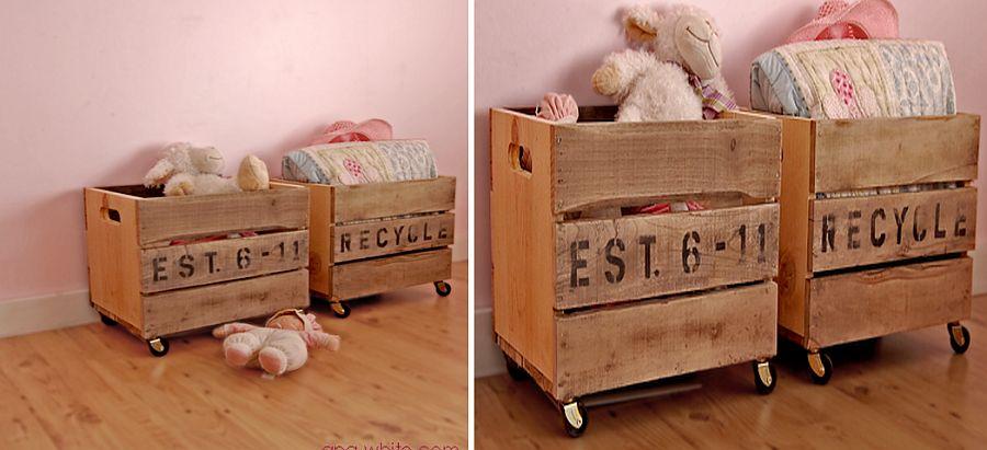 DIY-storage-idea-with-vintage-crates-on-wheels