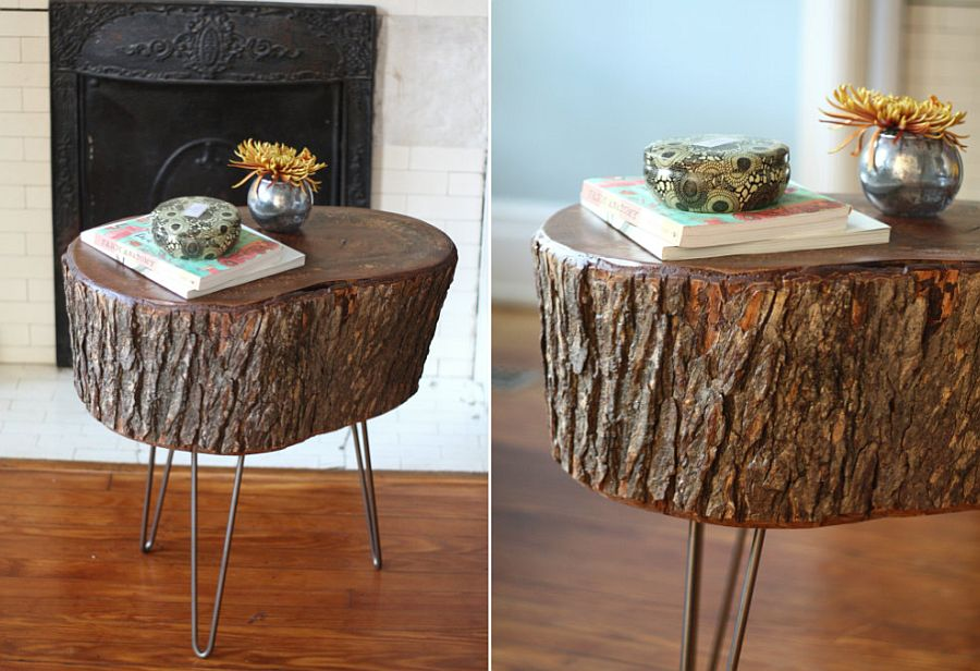 DIY stump table with hairpin legs