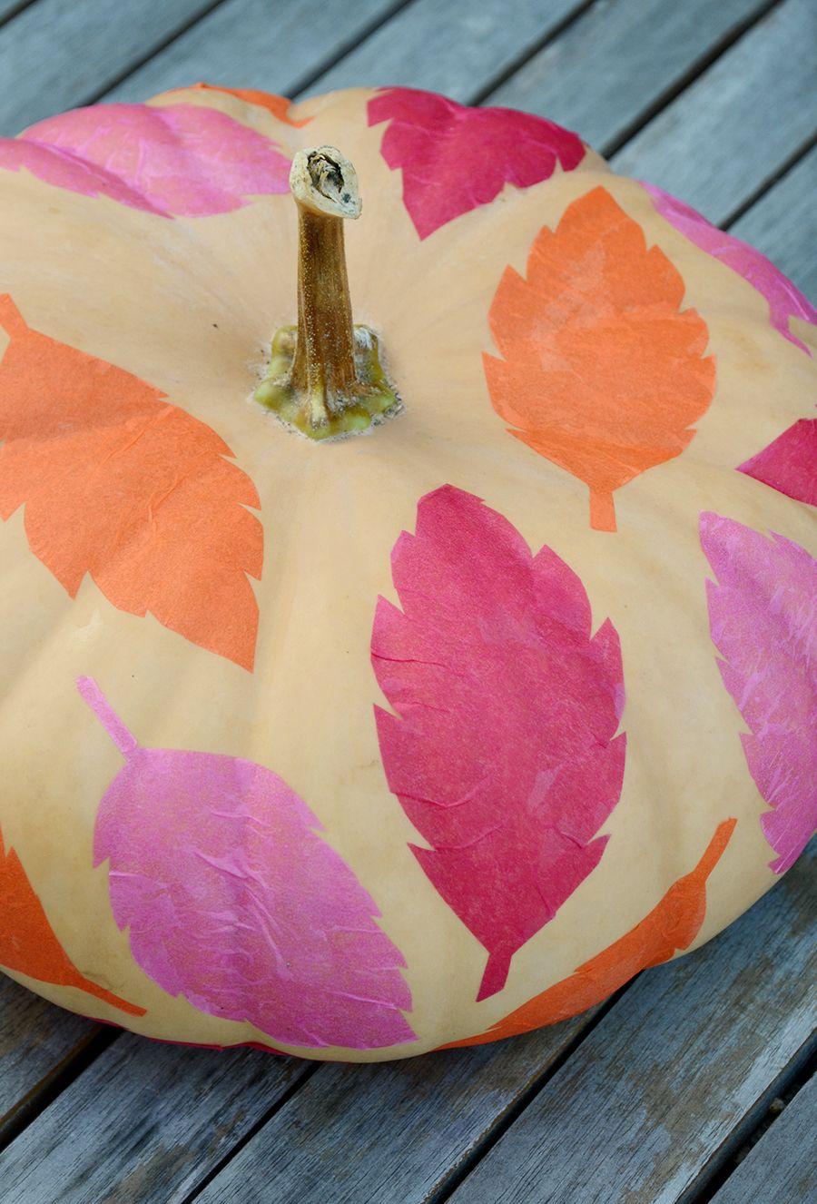 DIY tissue paper leaf pumpkins