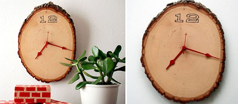 DIY wall clock crafted from tree stump