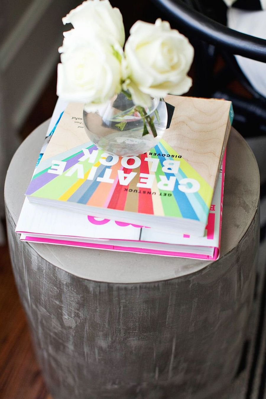 Decorating the gorgeous cement side table