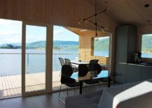Dining-and-kitchen-on-cabin-next-to-lake-217x155
