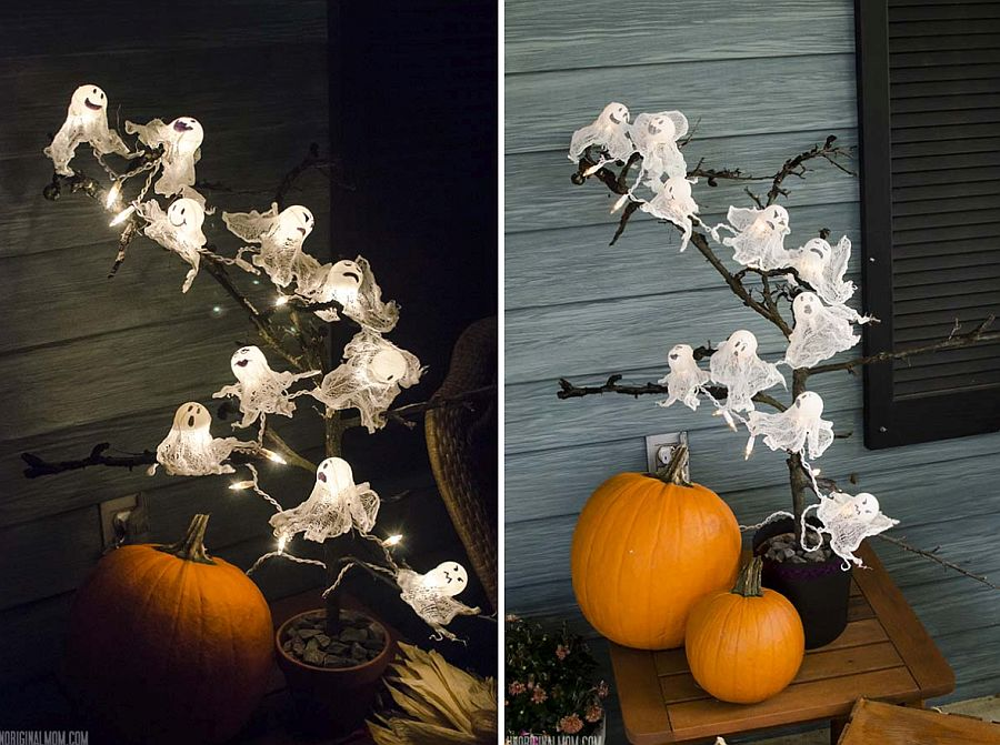 Easy to craft DIY Ping Pong Ghost Lights for Halloween
